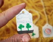 SET OF 4 - MINIATURE TAGS - art, child made, children, Christmas, creating, creativity, gift tags, gifts, homeschooled, kid, landscapes, learning, mini, presents, unique, unschooled, wrapping