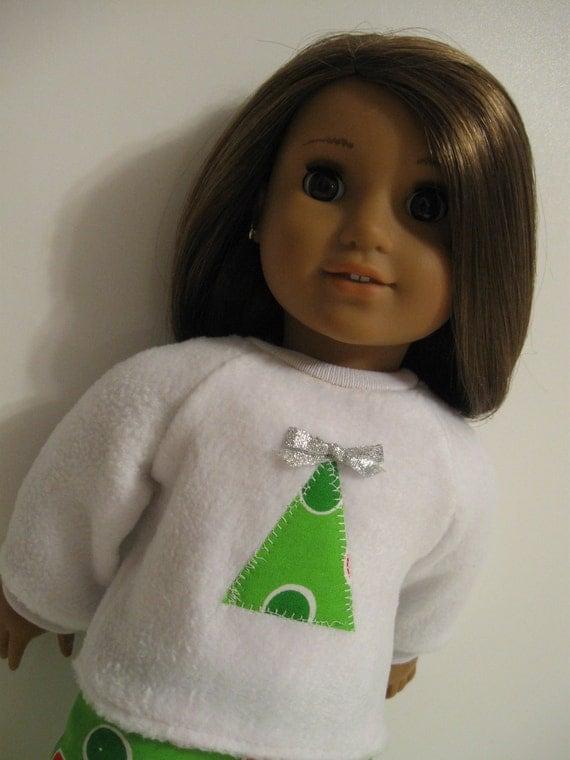 American Girl Doll - Christmas PJ's-Dots Green