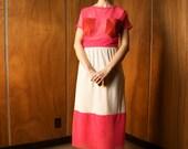 White and Pink midi Skirt
