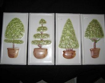 3D Botanical Trees Hand Painted Italian Ceramic Tiles 4 pc Set Lot 181