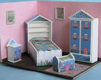"House & Garden Bedroom Set Kit (34) in Quarter Inch or 1/4"" or 1:48th Scale OR use as toy doll furniture for 1"" scale"