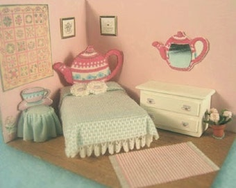 "Teapot Bedroom Furniture Set Kit (38) in Quarter Inch or 1/4"" or 1:48th Scale or toy doll furniture for one inch scale"