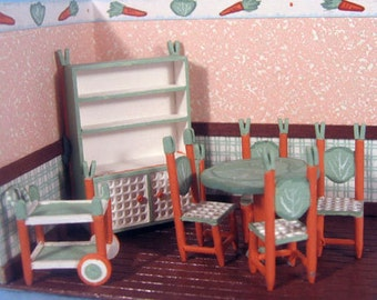 "Whimsical Dining Room Furniture Set Kit (25) in in Quarter Inch or 1/4"" or 1:48th Scale OR doll furniture for 1"" scale"