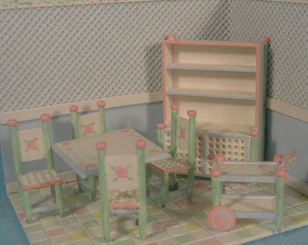 """Price reduced-Whimsical Dining Room Furniture Set Kit (25) in in Quarter Inch or 1/4"""" or 1:48th Scale OR doll furniture for 1"""" scale"""