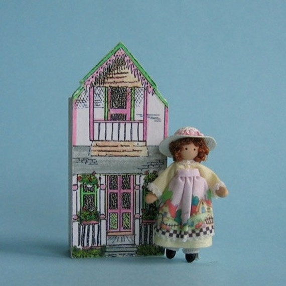 """Miniature doll for 1/4"""" and 1"""" scales doll (2d) plus free dolhouse kit"""