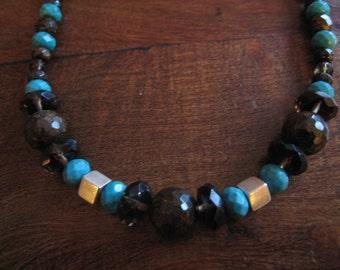 Bronzite, quartz and turquoise necklace