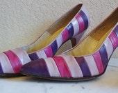 HOT PURPLE Pink Lilac stripe high heel shoes stilettos pumps 1950sOOAK  Palter Deliso New York AMAZING Eames Atomic Era 7 narrow