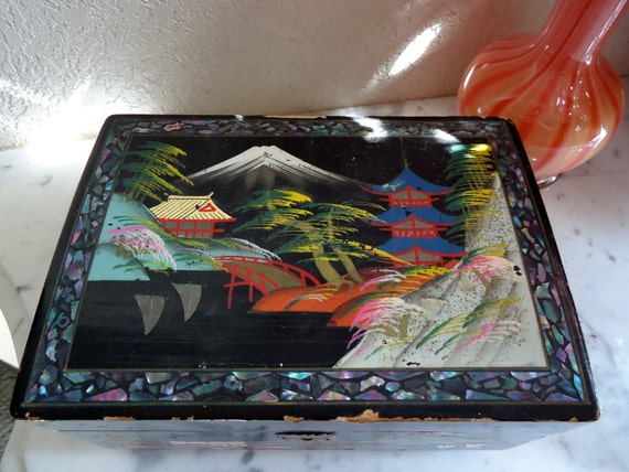 Black Lacquer Antique Jewelry Box Mother Pearl Inlay By Tajemo