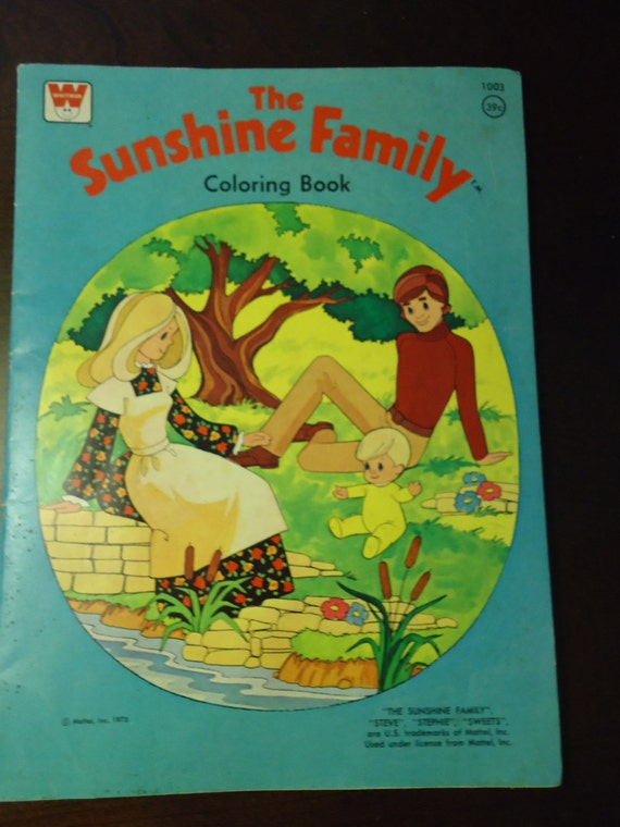 The SUNSHINE Family Coloring book Mattell 1975 Steve Stephie Sweets GR8 condition