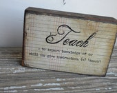 Decoupage Recycled Wooden Block with definition for the Teacher in your life