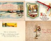 Vintage Christmas Postcards, Collection of Four
