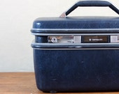 Vintage Train Case, Samsonite, Midnight Blue