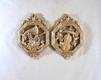 Pair of Vintage Homeco Wall Plaques,  Hollywood Regency Music Theme