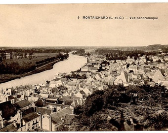 Vintage French Postcard, Montrichard, 1910s or 1920s