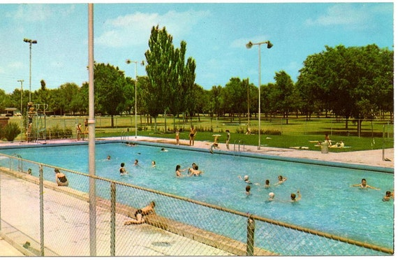 vintage postcard park swimming pool odessa texas by tagsalefinds