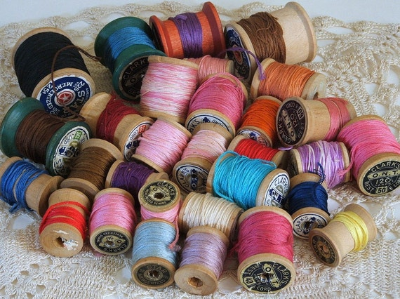Vintage Wooden Spools and Embroidery Floss