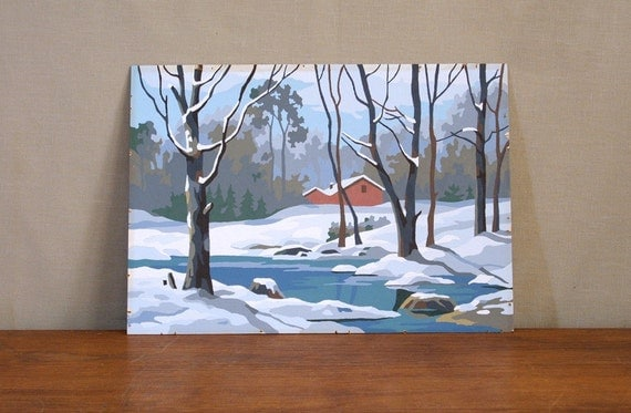 Vintage Paint By Number Painting, Winter Cabin Scene