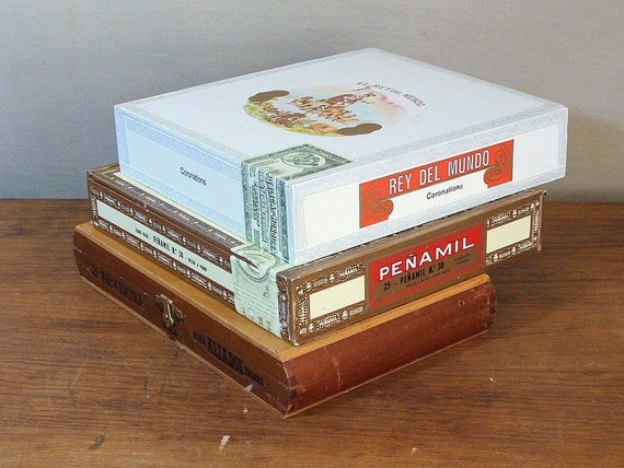 Wood Cigar Boxes, Three Wooden Boxes