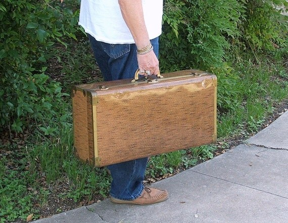 Vintage Metal Suitcase, Large Travel Bag, Storage, Display