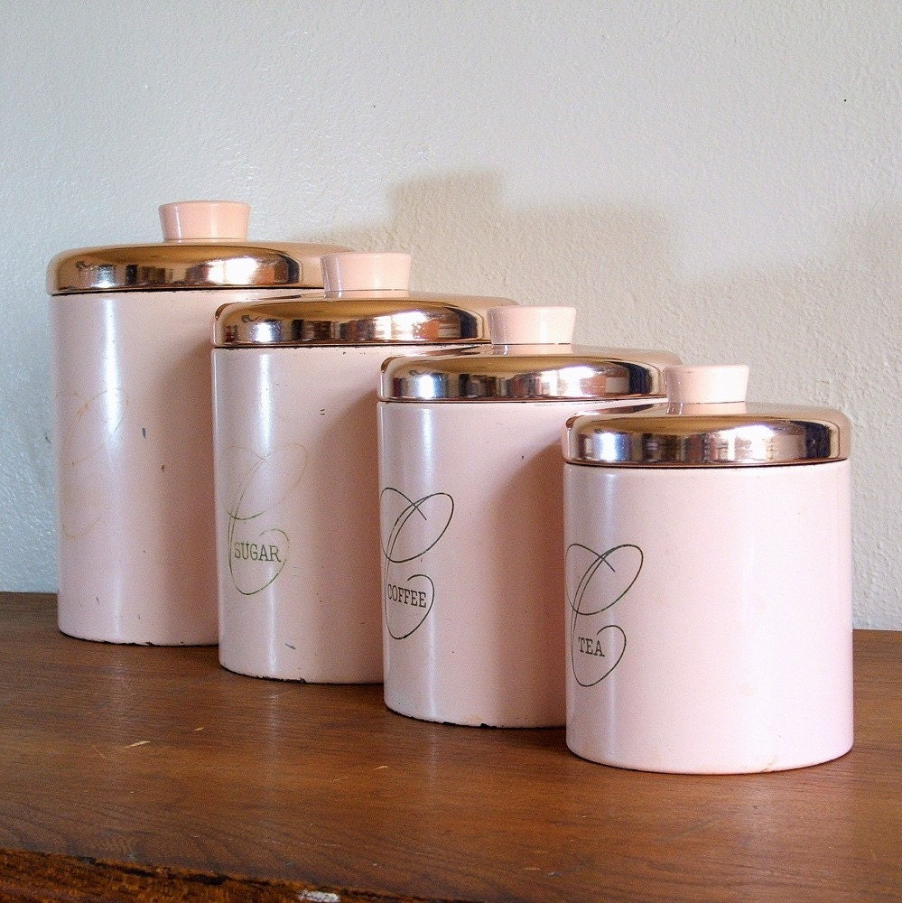 kitchen canister sets pink metal ransburg kitchen canister set by tagsalefinds
