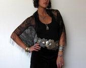 Vintage Black Magic Woman Lace Fringe Shawl