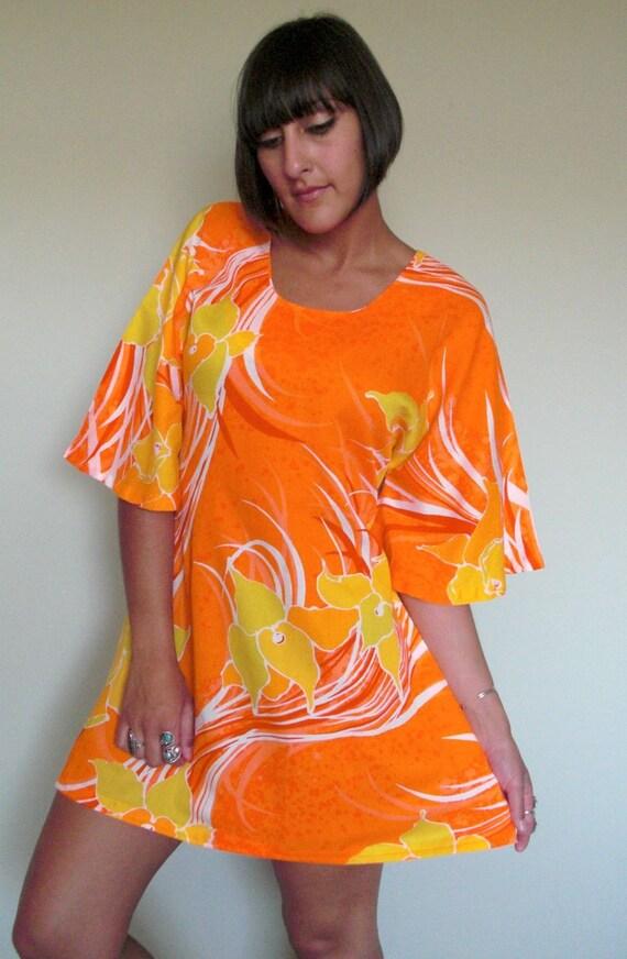 Vintage 60s 70s Vibrant Orange Psychedelic Mini Tent Dress