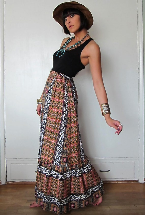 Vintage 70s Maxi Festival Skirt by Tori Richard