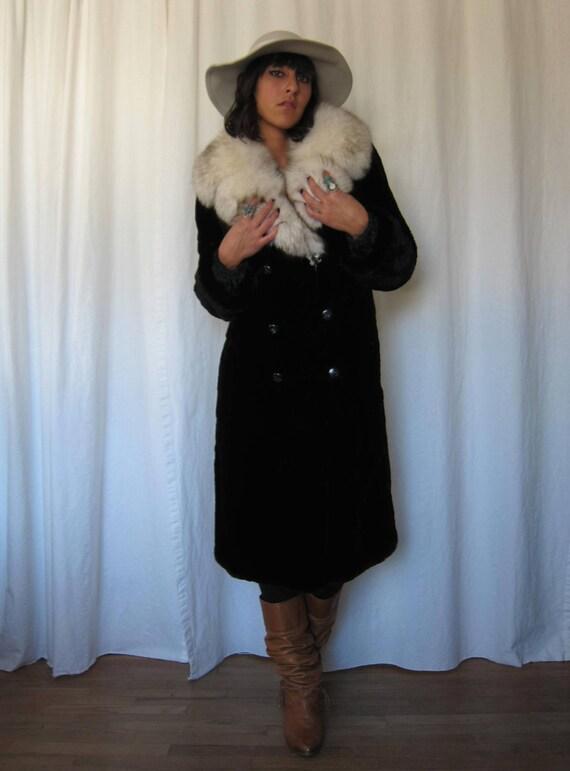 Vintage 60s BEAVER Fur Coat with FOX Fur Collar