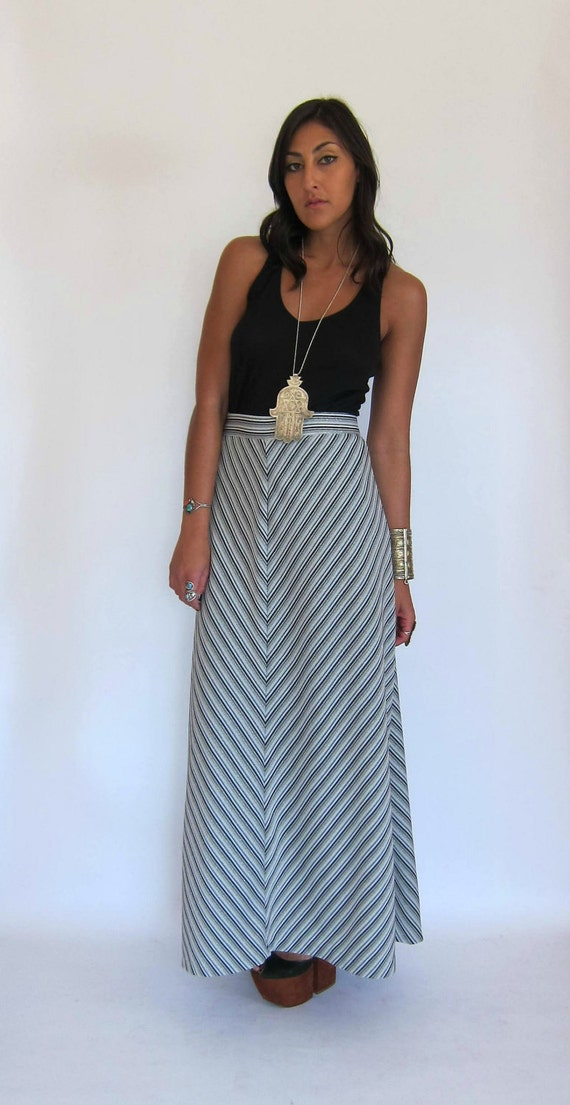Vintage 70s Cosmic Chevron Stripe Maxi Skirt L XL