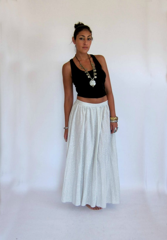 Vintage 70s Sheer Cosmic Silver Sparkle Pleated Maxi Skirt