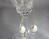 Coin Pearl Threader Earrings