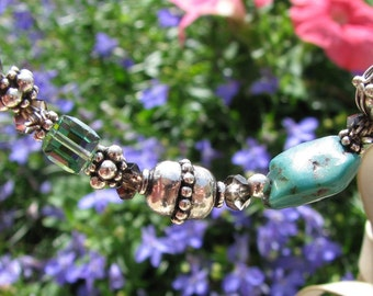 Turquoise, Smoky Topaz and Swarovski Cube Bracelet
