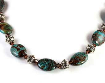 SALE-Turquoise Oval and Bali Necklace