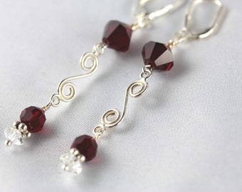 Red Swarovski Silver S Dangle  Earrings