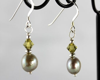 Olive Freshwater Pearl and Crystal  Earrings