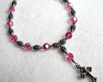 Rose Swarovski Crystal Rosary Bracelet