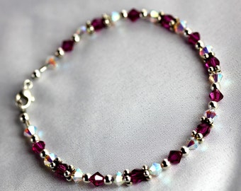 Fuchsia and Opal AB Swarovski Crystal Girl's Bracelet