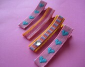 Pink and blue Ribbon Hair Clips.