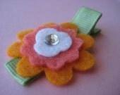 Orange Felt Flower  Hair Clip.
