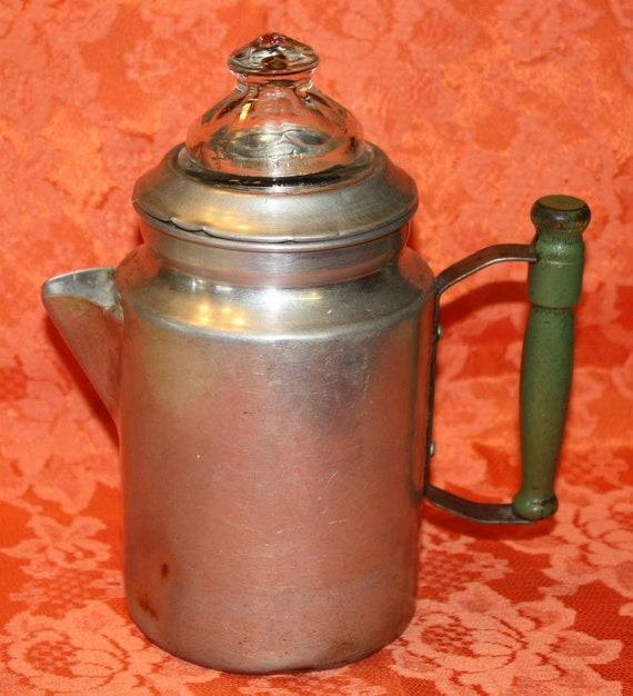 Vintage Green Handled Aluminum Coffee Pot