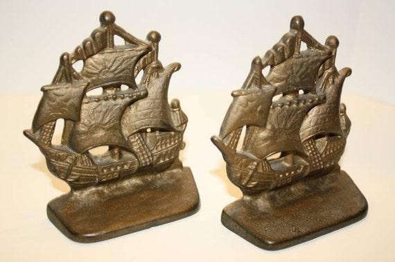 Vintage Ship Bookends of Cast Metal