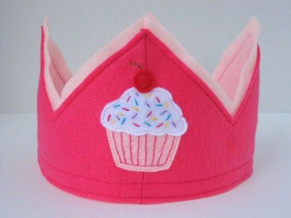Pink Felt Cupcake Crown -- GREAT FOR BIRTHDAYS