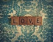 Scrabble Photography Print - love - blue - 8x10