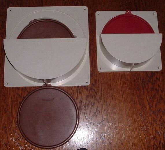 Two Vintage Tupperware Lid Holders Almond Color