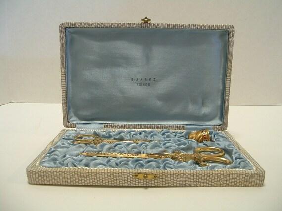 Rare Vintage Suarez Toledo Gold Plated Scissor Set and Thimble