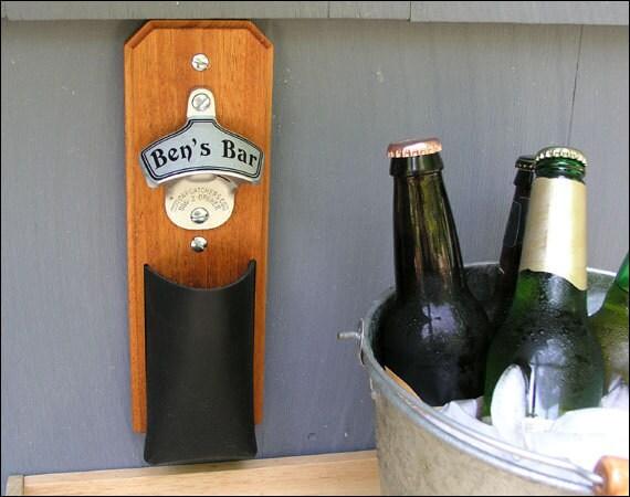 Personalized mahogany cap catcher bottle opener groomsmen - Wall mounted bottle opener with cap catcher ...
