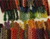 Bouquet of  20 eight yard skeins Hand dyed Merino wool crewel embroidery yarn