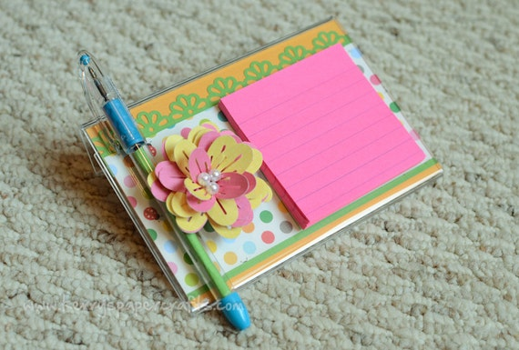 Flower Post-It Note Stand w/ matching Pen