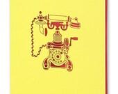 Telephone Laser Cut Greetings Card