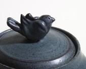 Black Bird Jar - hand thrown ceramic jar